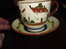 OLD DEVON TORQUAY MOTTO  WATCOMBE POTTERY MISMATCH ? CUP & SAUCER